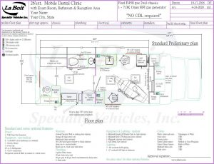 26ft Mobile Dental Clinic with Dental Suite, Bathroom, And Reception Area Floor Plan