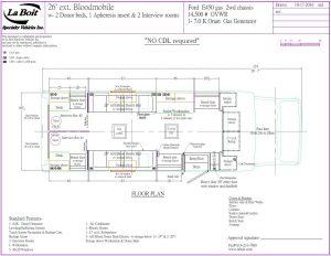 26ft 2 Bed Bloodmobile Floorplan